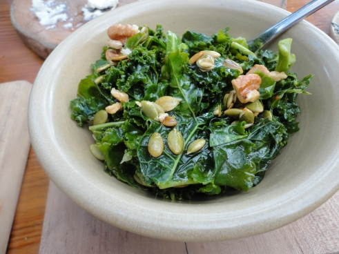 Terrain's version of  a salad - kale and brussells sprouts with walnuts and pumpkins seeds