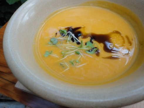 Butternut Squash Soup with Pumpkin Oil. Silky and smooth with just the right amount of sweetness.