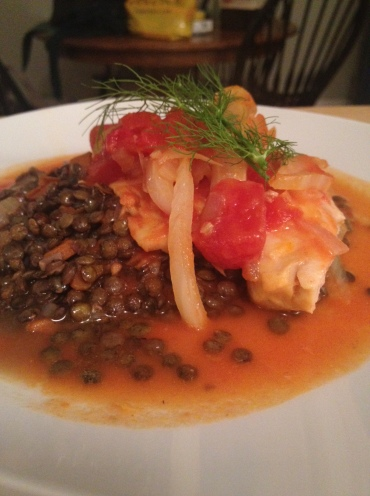 Cod, lentils, tomato, fennel and saffron - simple, delicious and inspiring