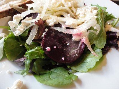 Roasted Beets with Spinach, Goat Cheese, and Shaved Fennel. Because of this salad, Fennel is my new favorite thing. And I'm feverishly trying to replicate the citris vinegraitte.