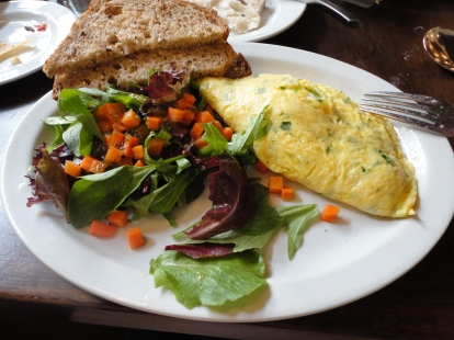 I opted for brunch - Omelette with Goat Cheese and Herbs. Even this side salad was flavorful and SO FRESH.