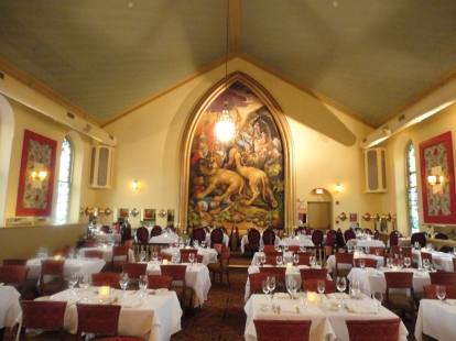 The old church sanctuary transformed into the posh dining room