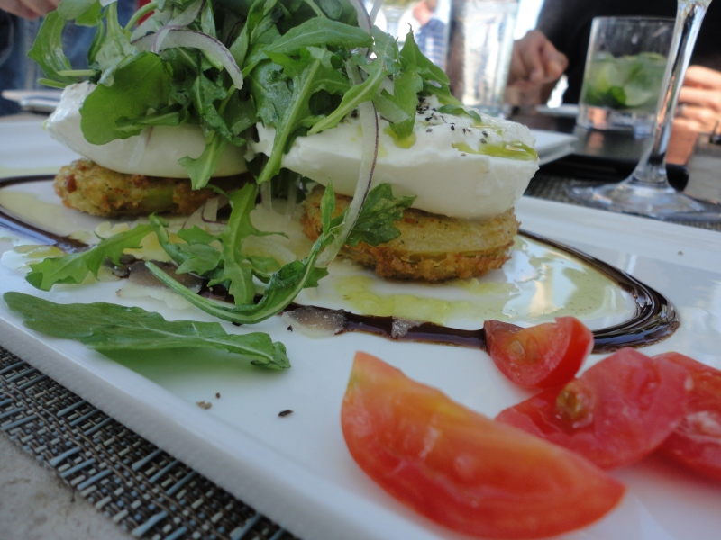 Oh my Burrata! This was GOOD. Cheese filled with cheese? Plus fried green tomatoes? YES, please!