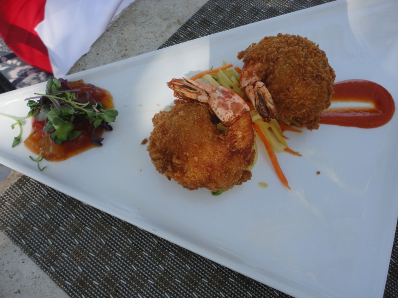 Sunset Key Shrimp with Apricot BBQ sauce and watermelon chutney. Oh my.