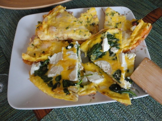 Ham and White Cheddar Frittata AND Spinach and Goat Cheese Frittata