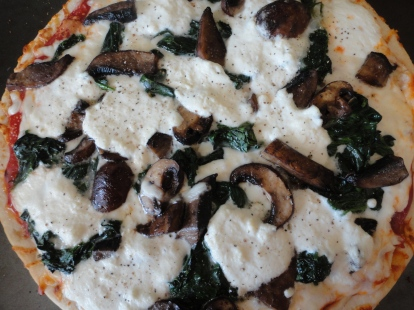 Pizza with spinach (also a CSA item) and ricotta