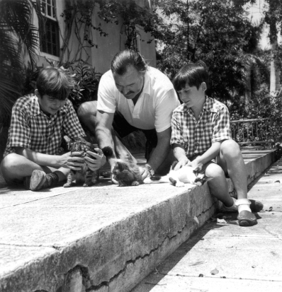 Hemingway in Cuba with Patrick and Gregory and some feline friends