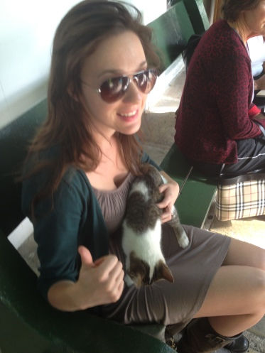 This cat snuggled in my lap and like a tourist with a fanny pack, I gave the thumbs up. Even so, this was a good moment.