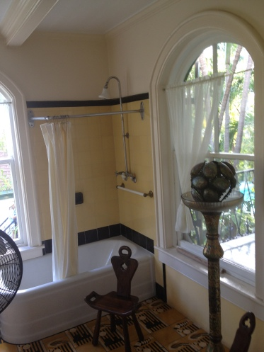 The master bathroom, the only second floor bathroom in Key West until after 1944