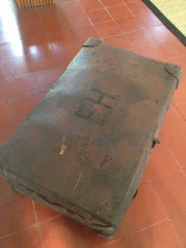 A suitcase with Hemingway's initials