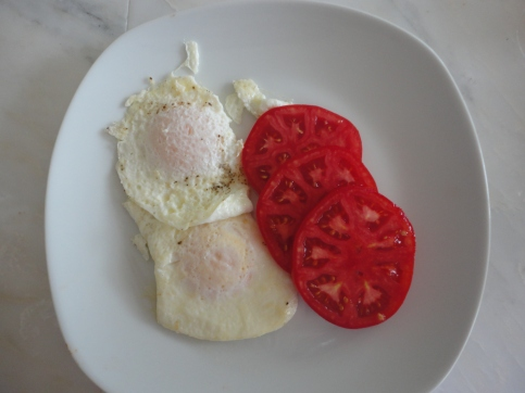 Tomatoes and farm fresh eggs - breakfast is served