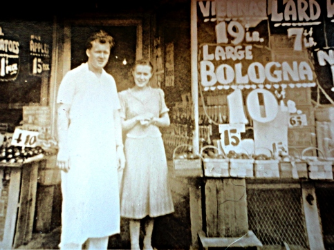 My grandmother and grandfather in front of the Chene Street store
