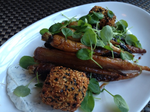 Roasted carrots with sesame encrusted goat cheese = the best thing I have eaten in a long time