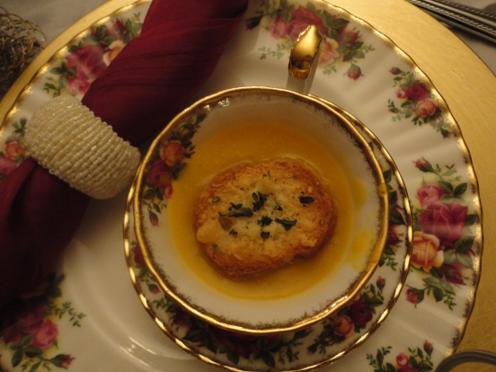 Seasonal soup served in tiny tea cups