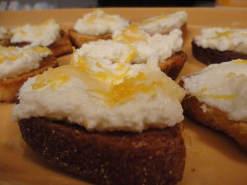 Lemon Ricotta Bruschetta with Honey