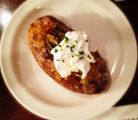 Keystone Cannibal baked potato stuffed with scrapple-yukon gold hash, 